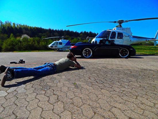 Lucky Luxem Making of at work Fotoshooting PorscheVS Hubschrauber